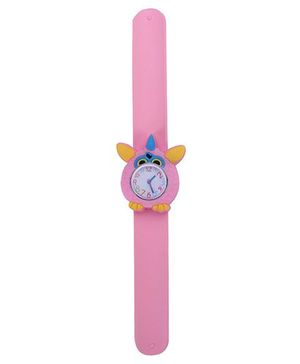 Slap Style Analog Watch Owl Design Dial - Light Pink