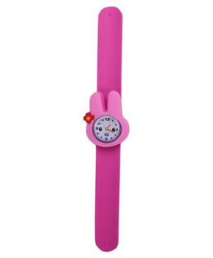 Slap Style Analog Watch Rabbit Design Dial - Fuchsia Pink