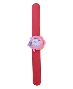 Slap Style Analog Watch Fish Design Dial - Red & Pink