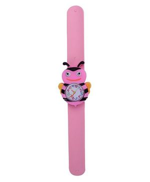 Slap Style Analog Watch Bee Shape Dial - Pink