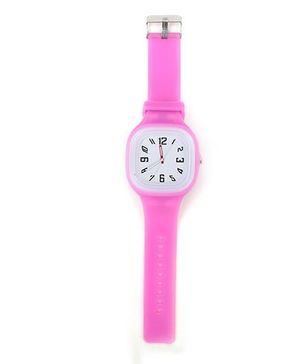 Analogue Wrist Watch Square Shape Dial - Pink