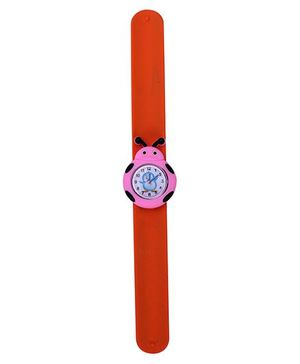 Slap Style Analog Watch Insect Shape Dial - Orange and Pink