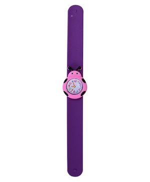 Slap Style Analog Watch Insect Shape Dial - Purple and Pink