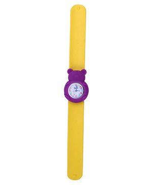 Slap Style Analog Watch Bear Design Dial - Yellow & Purple