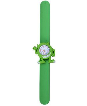 Slap Style Analog Watch Frog Shape Dial - Green