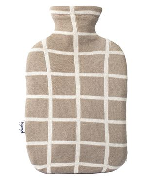 Pluchi Cotton Hot Water Bottle Cover - Brown & White