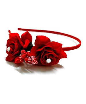 Little Lilies Rose Flower Hairband - Red
