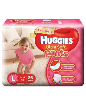 Huggies Ultra Soft Pants Large Size Premium Diapers For Girls - 26 Pieces