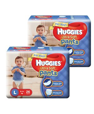 Huggies Ultra Soft Pants Large Size Premium Diapers For Boys 26 Pieces - Pack Of 2