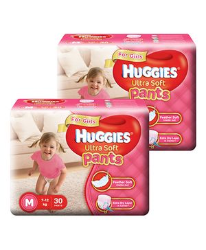 Huggies Ultra Soft Pants Medium Size Premium Diapers For Girls 30 Pieces - Pack Of 2