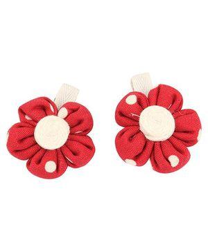 De Berry Dot Print Flower Hair Clip - Red