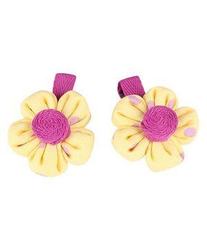 De Berry Dot Print Flower Hair Clip - Yellow