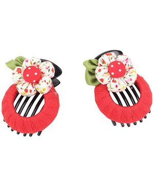 De Berry Flower Hair Clip - Red