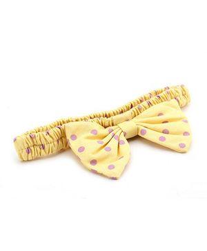 De Berry Polka Dot Bow Headband - Yellow