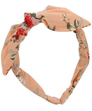 De Berry Bow With Floral Print Hairband - Light Orange