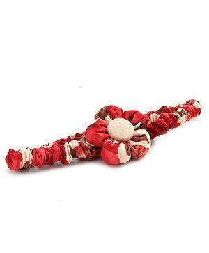 De Berry Flower Print Headband - Red