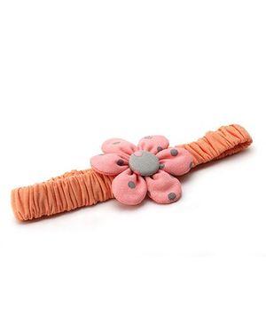 De Berry Polka Dot Flower Headband - Peach & Pink