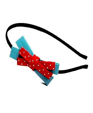 D'chica Cross Bow Hairband - Blue & Red