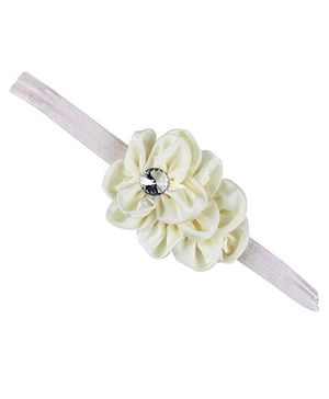 D'chica Flower & Diamante Flower Cluster Headband - Cream