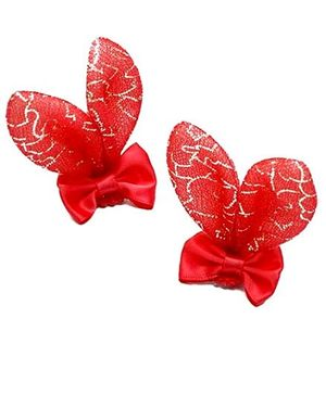 D'chica Shiny Bunny Hair Clip - Red