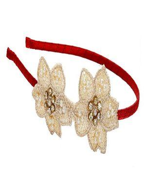 D'chica Crochet Flower Custer Hairband - Beige & Red