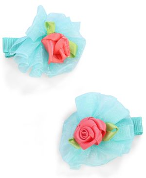 Stol'n Floral Design With Rose Motifs Hair Clip - Green