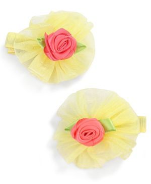 Stol'n Floral Design With Rose Motifs Hair Clip - Yellow