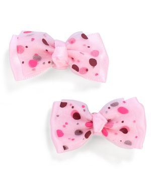 Stol'n Dotted Bow Shape Hair Clip - Light Pink
