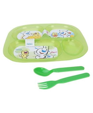 Pratap Ultra Transparent Plate With 4 Compartments - Green