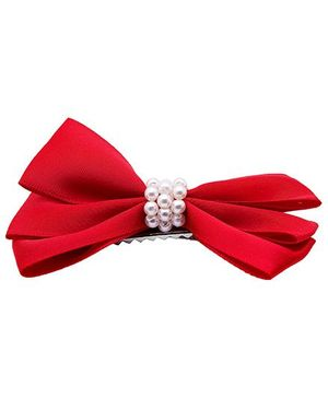 NeedyBee Satin Decorated Hair Clip With Pearls  - Red