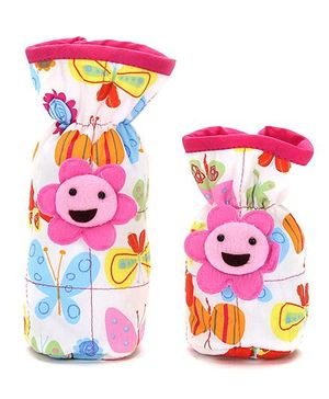 1st Step Bottle Cover Pack of 2 Butterfly Print - Pink