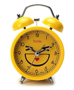 Gifts Worlds Smiley Alarm Clock - Yellow