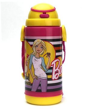 Barbie Sipper Water Bottle Pink and Yellow - 400 ml