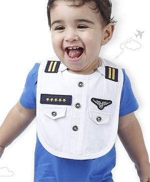 Flight Deck by Babyhug Bib Pilot Uniform Print - White
