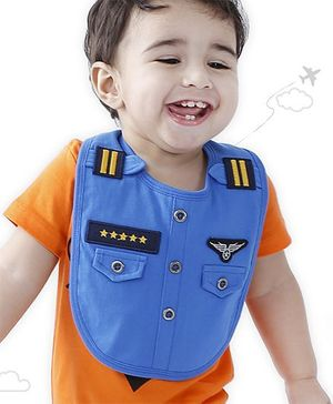 Flight Deck by Babyhug Bib Pilot Uniform Print - Blue