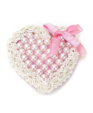 Sugarcart Pearl Heart Clip with Bow - Pink