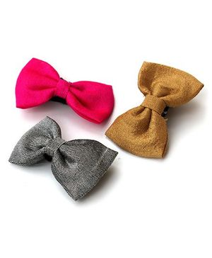 Pigtails And Ponys Bow Hair Clip - Pink Golden Grey