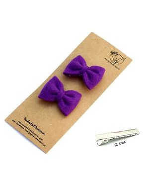 Pigtails And Ponys Felt Bow Hair Clips - Purple