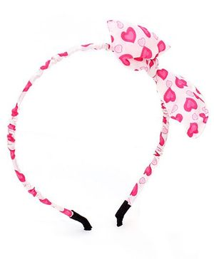 Stol'n Heart Print Bow Motif Hairband - White & Pink