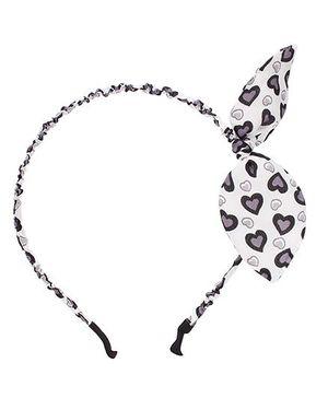 Stol'n Heart Print Bow Motif Hairband - White & Black