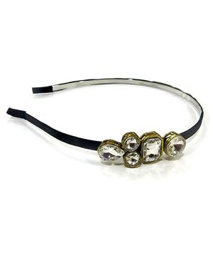 Chubby Cheeks Kundan Single Broach Hairband - Black