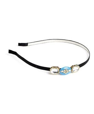 Chubby Cheeks Kundan Jadau Stone Hairband - Blue