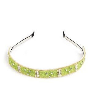 Chubby Cheeks Ethnic Crystal Work Hairband Parrot Green Free Size