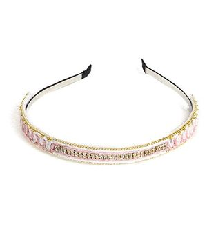 Chubby Cheeks Ethnic Threadwork Hairband - Baby Pink