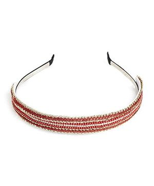 Chubby Cheeks Ethnic Gold Crochet Hairband - Red