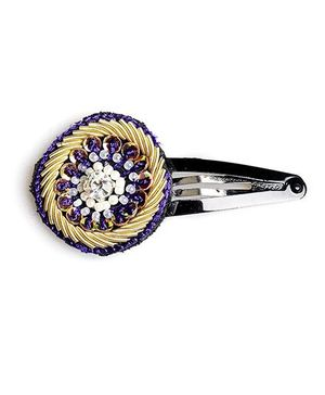 Chubby Cheeks Ethnic Jardosi Embroidered Tic Tac Hairpin - Purple