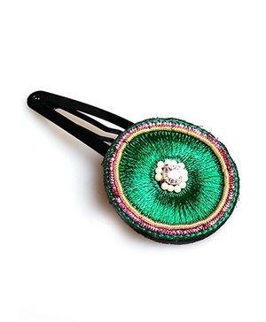 Chubby Cheeks Ethnic Resham Work Tic Tac Hair Pin - Green