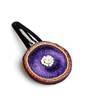 Chubby Cheeks Ethnic Resham Work Tic Tac Hair Pin - Purple