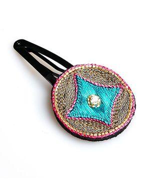 Chubby Cheeks Ethnic Zari Embroidered Tic Tac Hair Pin - Blue