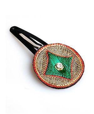Chubby Cheeks Ethnic Zari Embroidered Tic Tac Hair Pin - Green
